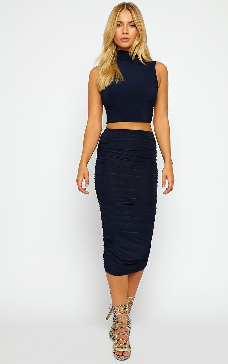 Saylor Navy Slinky Gathered Midi Skirt 1