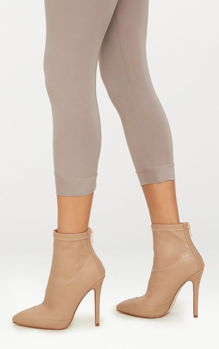 Warm Beige PU Pointed Ankle Sock Boot
