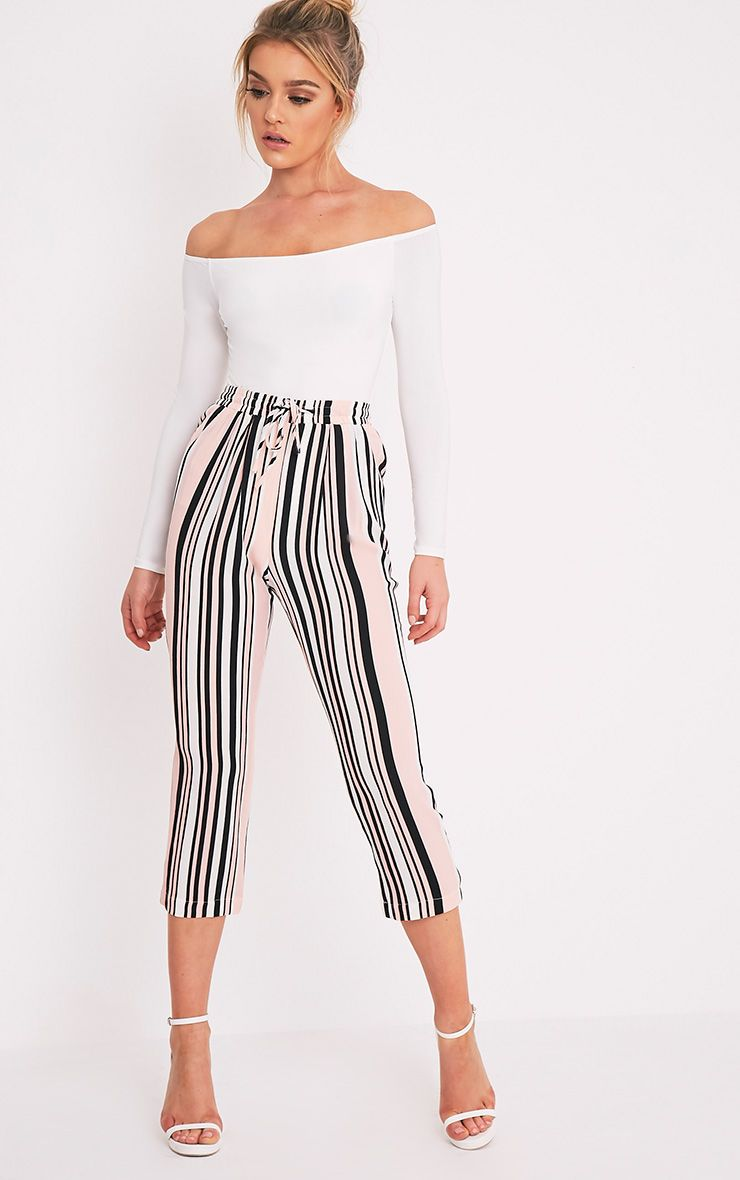 Diya Blush Stripe Cropped Trousers 1