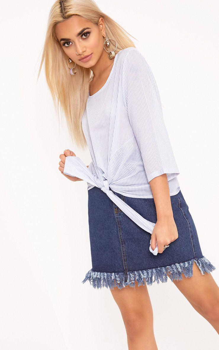 Waiola Blue Stripe Tie Front Shirt