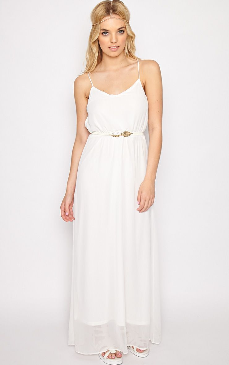 Verity White Chiffon Maxi Dress-M 1