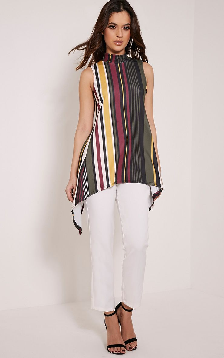 Jasmine Khaki Stripe Open Back Top 1