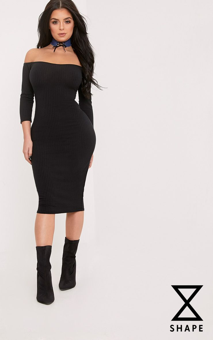 Shape Ailanna Black Ribbed Midi Bardot Dress