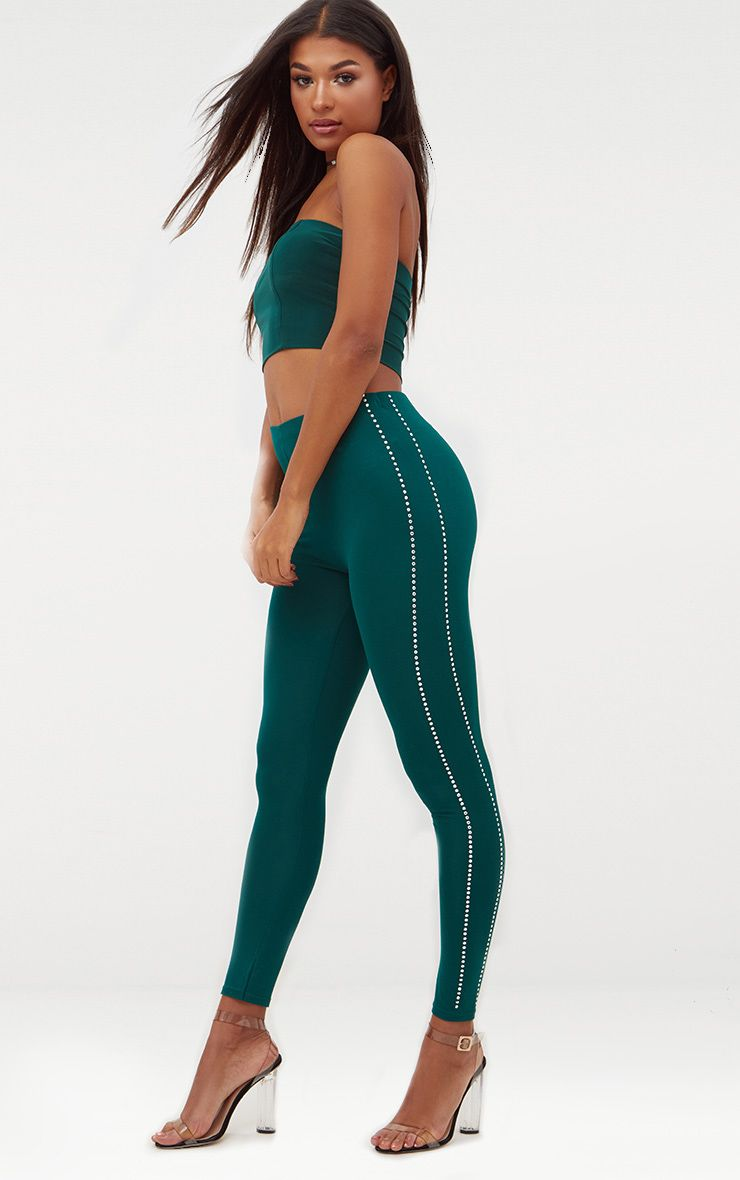 Forest Green Diamante Track Stripe Leggings