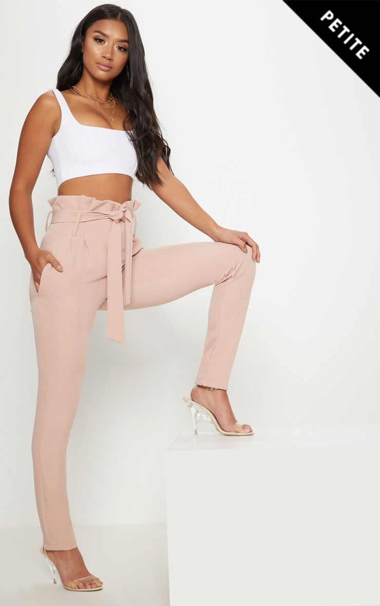 Petite Blush Paperbag Waist Trousers