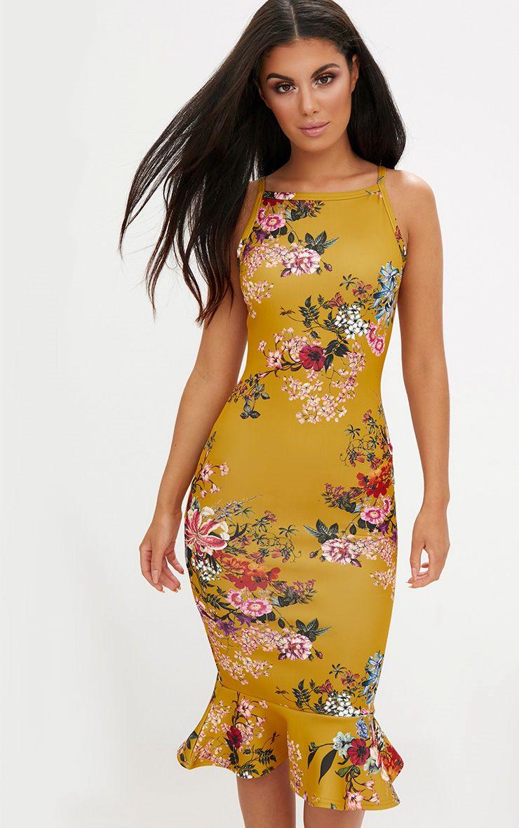Mustard Floral Square Neck Frill Hem Midi Dress