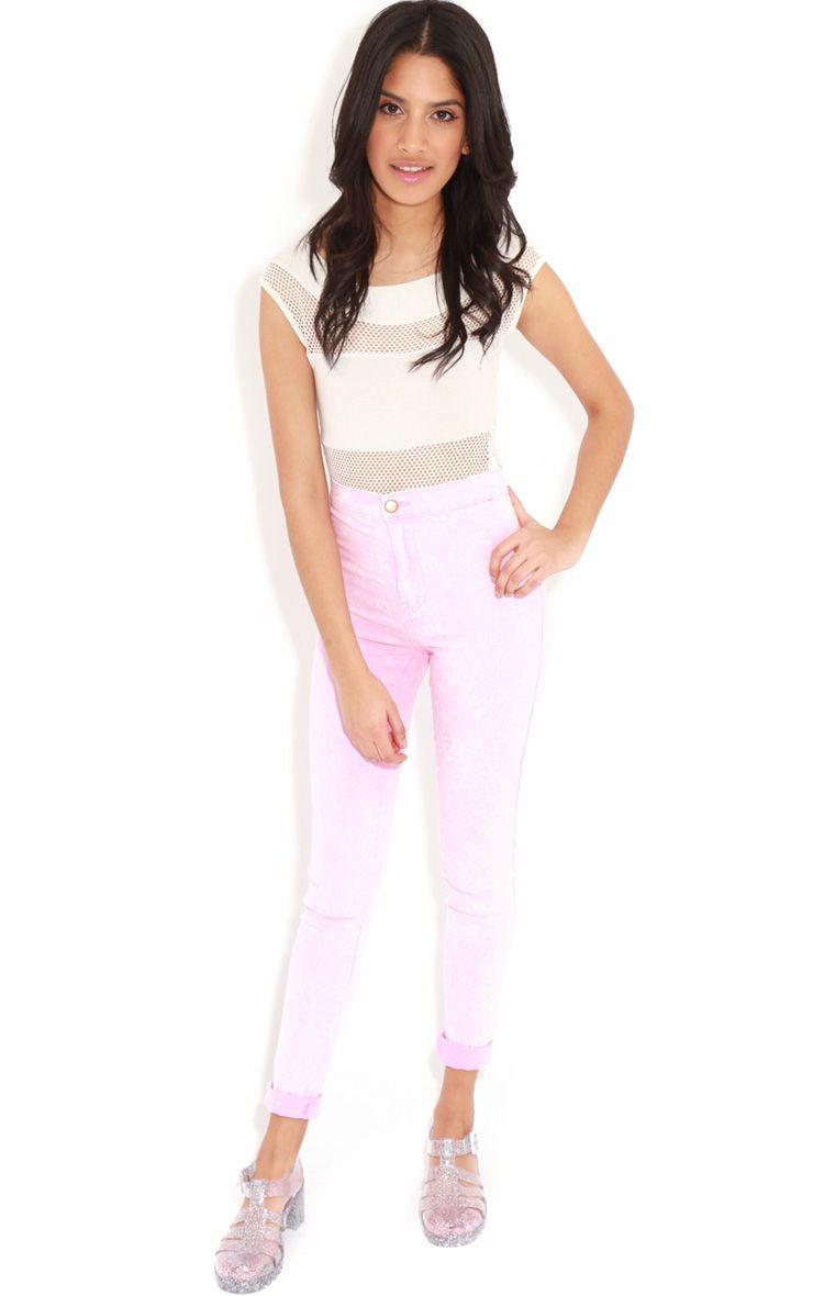 Annie Pink Acid Wash Skinny Jeans 1