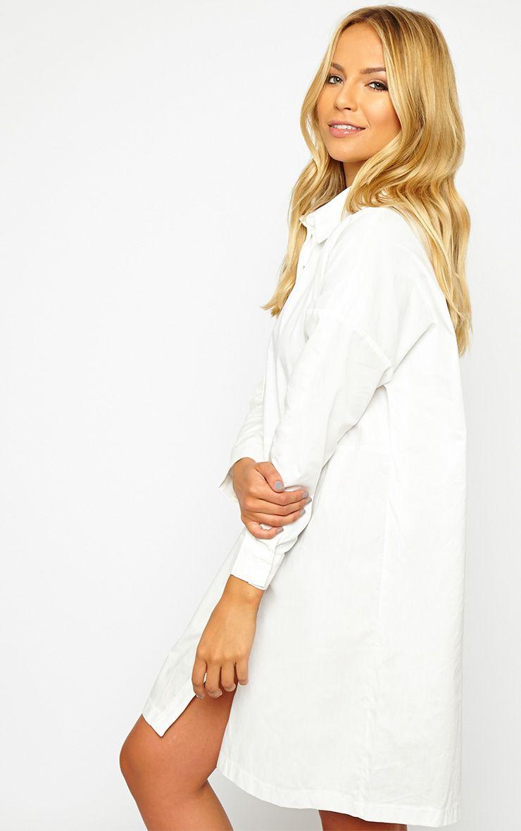 Carson White Shirt Dress - Dresses - PrettylittleThing ...