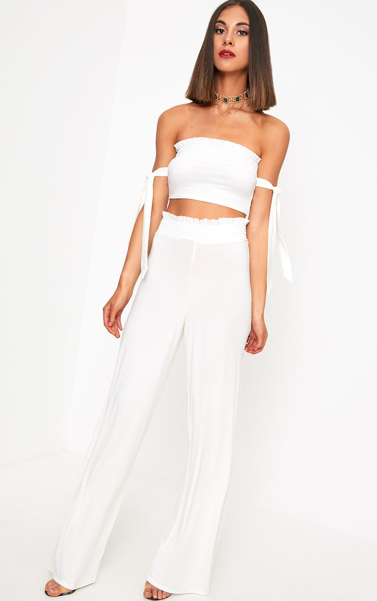 White Shirred Waist Wide Leg Trousers