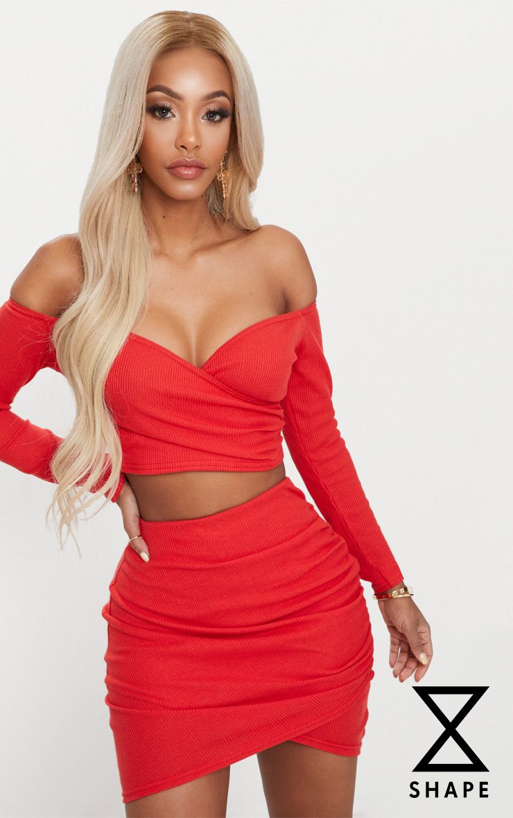 Shape Red Ribbed Bodycon Skirt