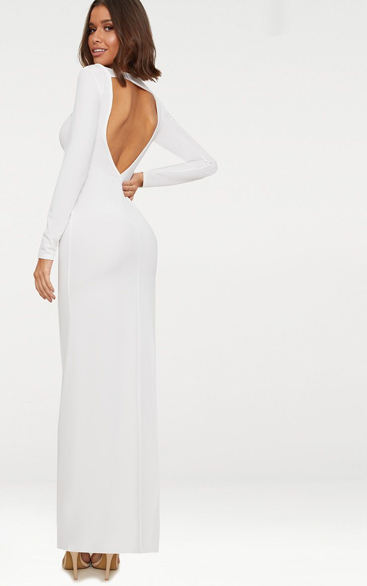 White Backless Strap Detail Long Sleeve Maxi Dress