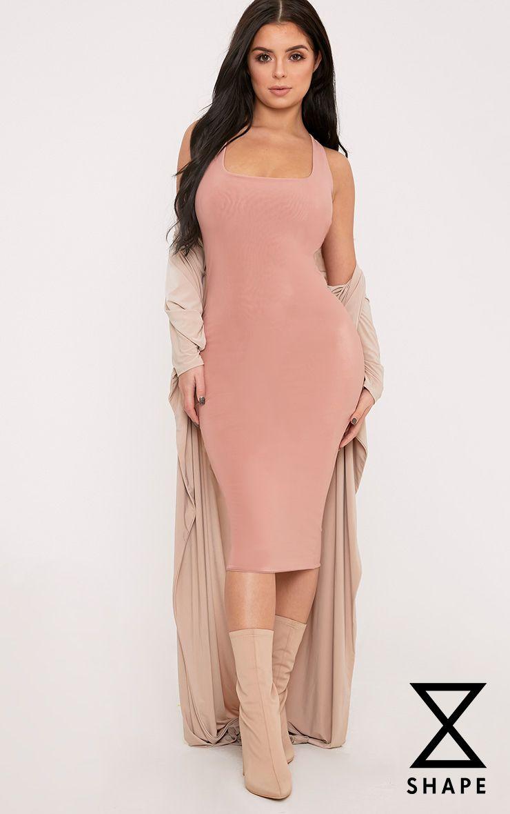 Shape Abrielle Nude Slinky Midi Dress