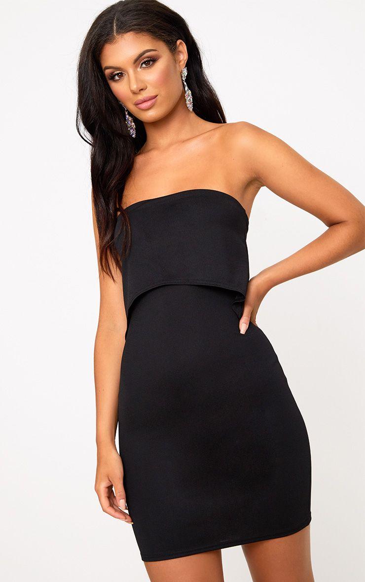 Black Bandeau Overlay Bodycon Dress