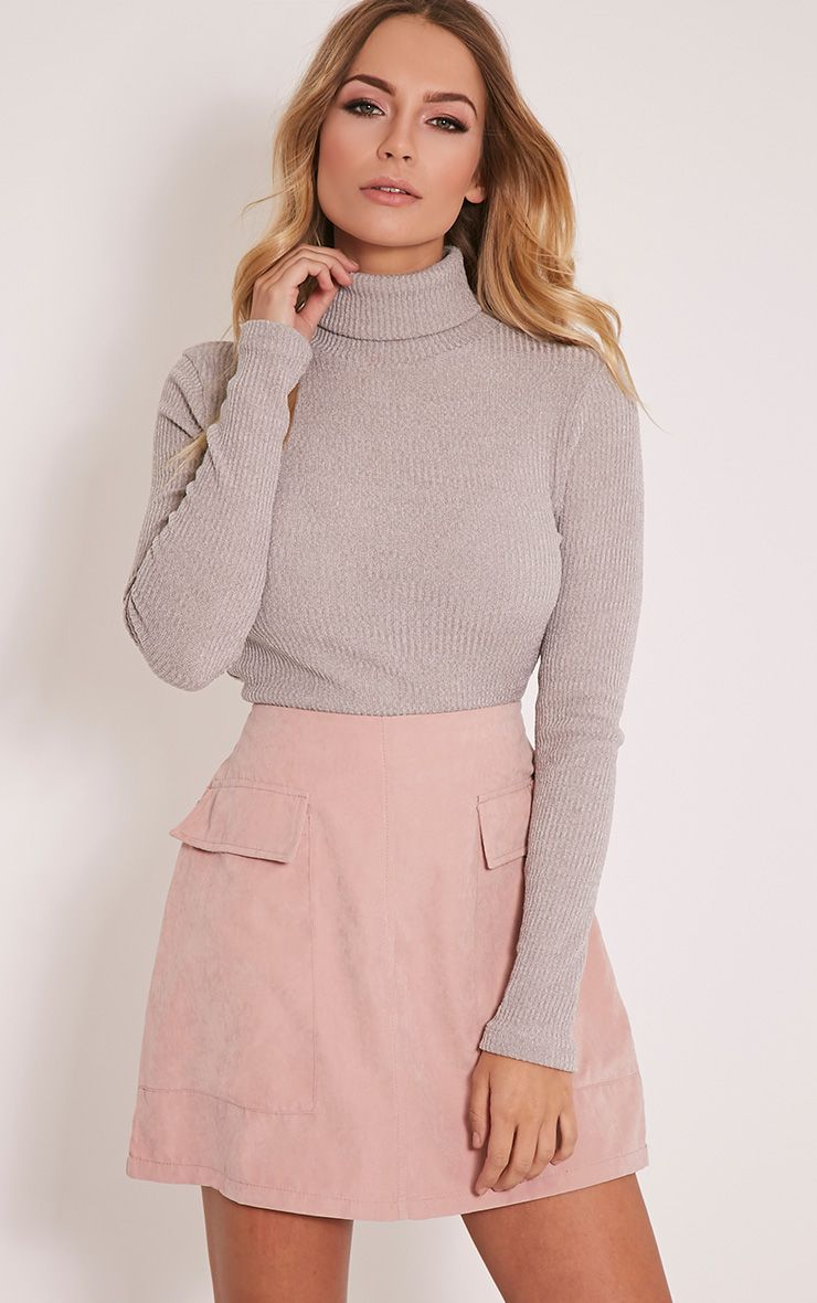 Delty Grey Knitted Rib Turtle Neck Top 1