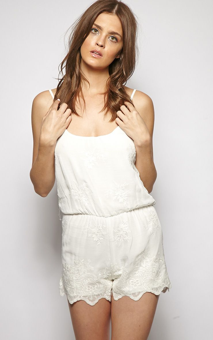 Valeria White Embroidered Detail Playsuit  1