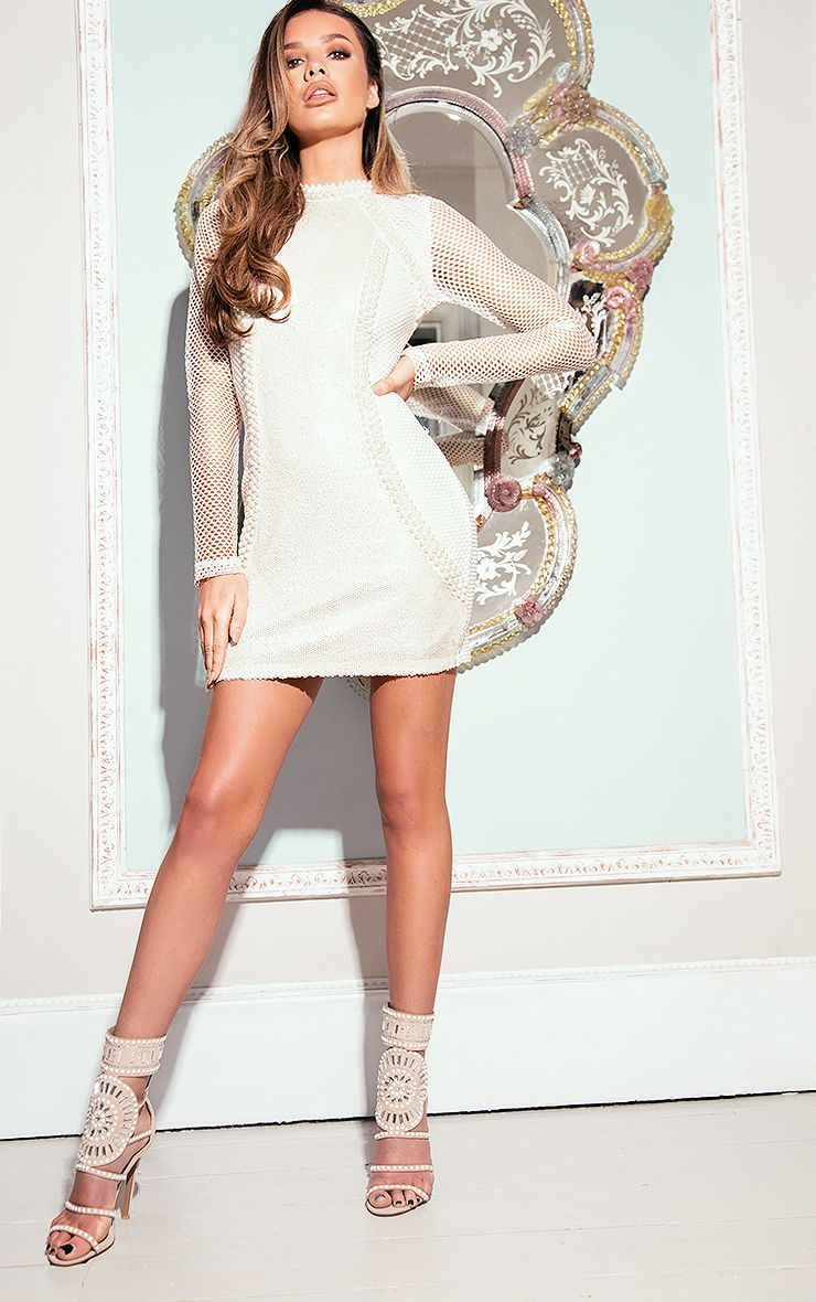 Riella White Premium Fishnet Sequin Panelled Bodycon Dress
