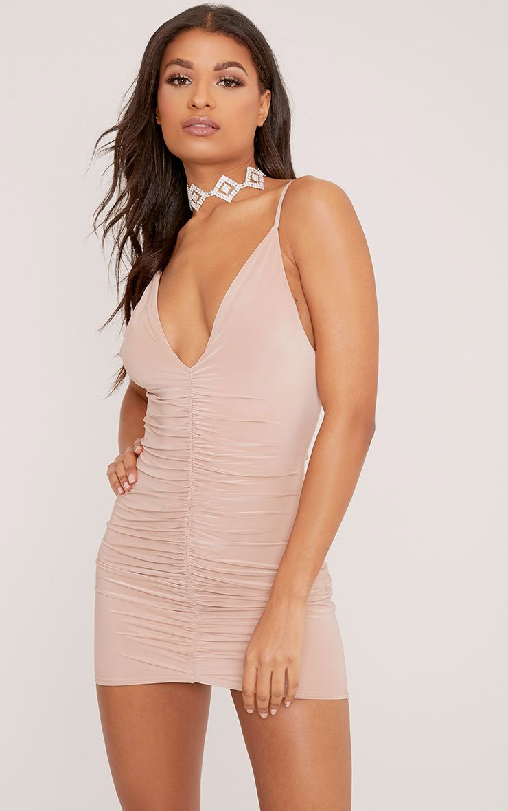 Evangeline Nude Slinky Ruched Plunge Bodycon Dress