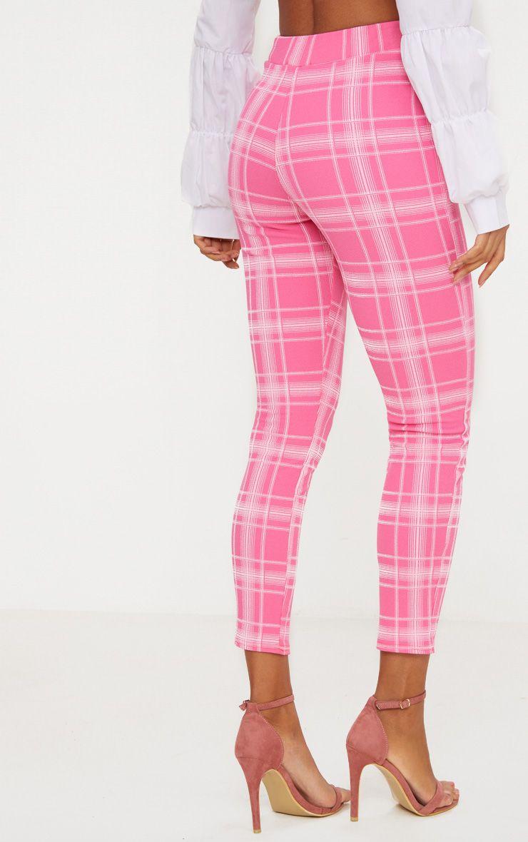 Pantalon skinny rose carreaux pantalons for Pantalon a carreaux