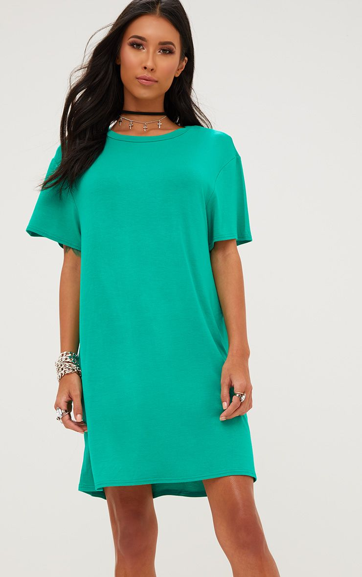 Basic Jade Green Short Sleeve T-Shirt Dress