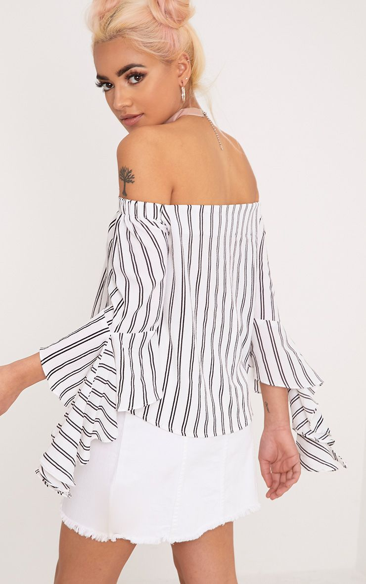 Asa White Bardot Stripe Woven Frill Sleeve Blouse
