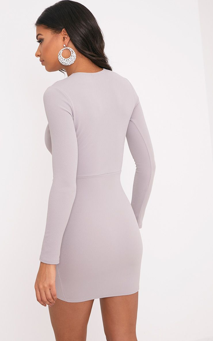 Dove Grey Long Sleeve Wrap Skirt Bodycon Dress Dresses