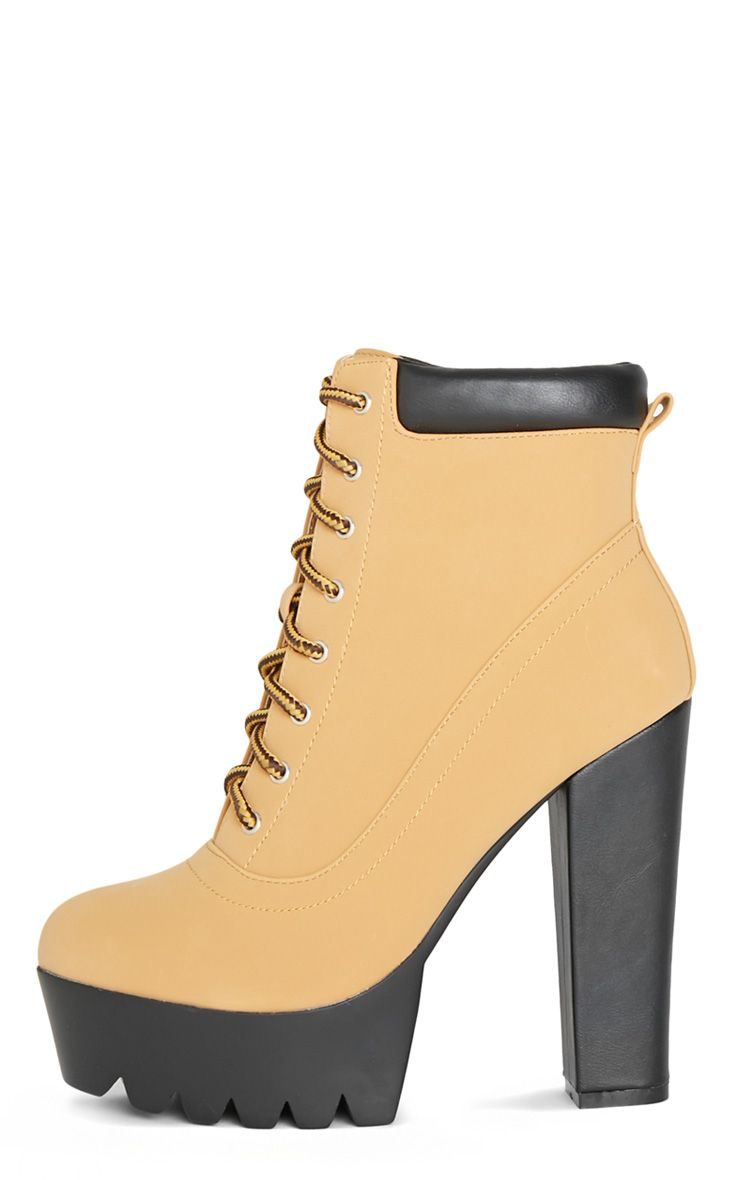 Anusha Camel Lace Up Cleated Sole Platform Boot 1
