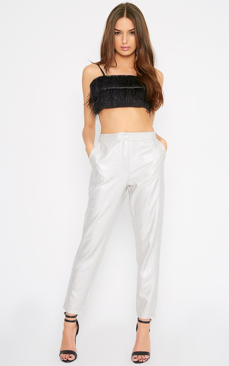 Gabby Silver Iridescent Cigarette Trouser  1