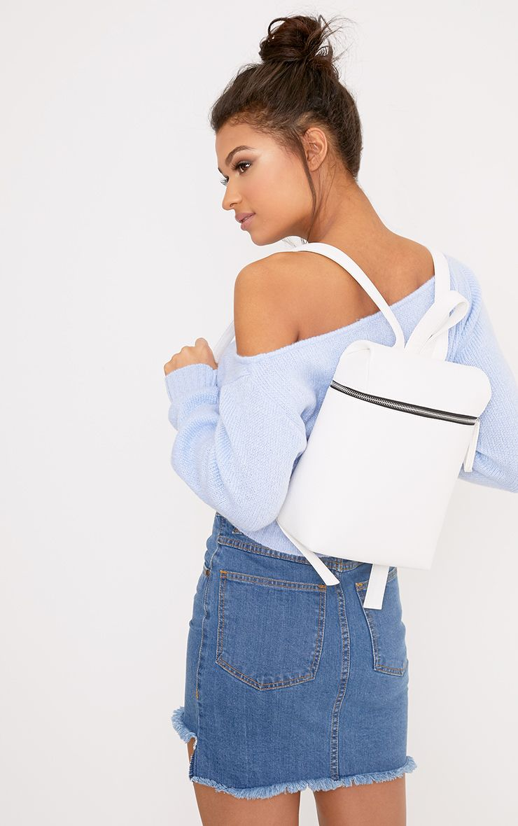Ophir White Structured Backpack
