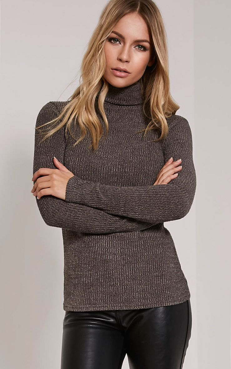 Delty Charcoal Knitted Rib Turtle Neck Top