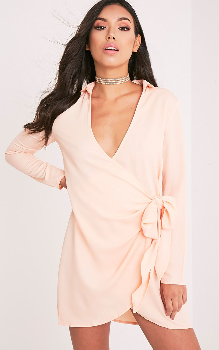 Shaylene Nude Tie Side Satin Shirt Dress
