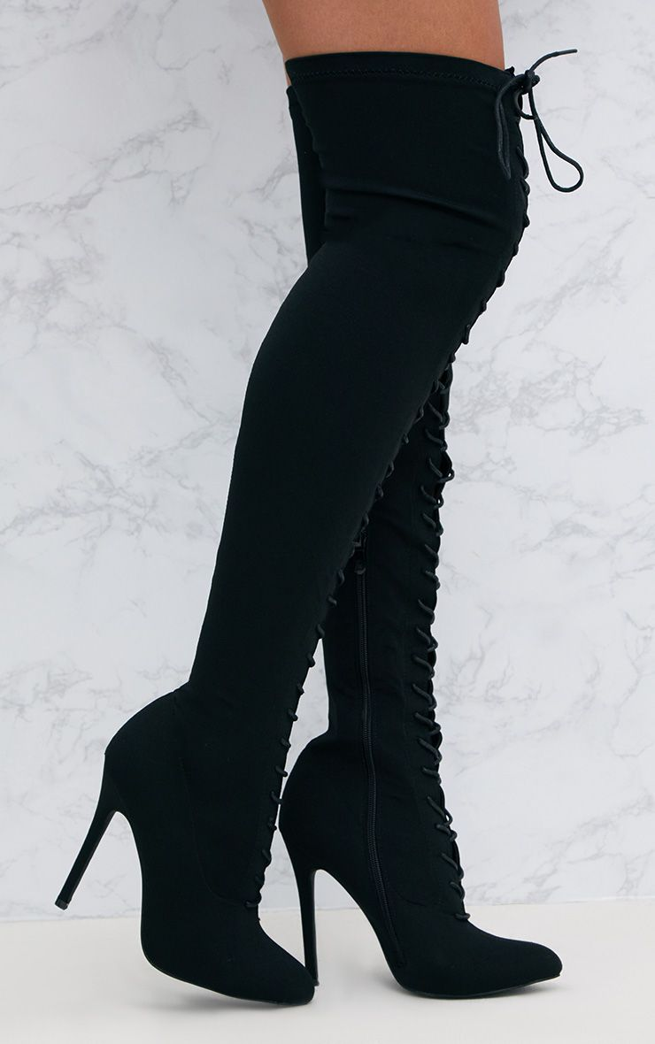 Black Thigh High Lace Up Heeled Sock Boots