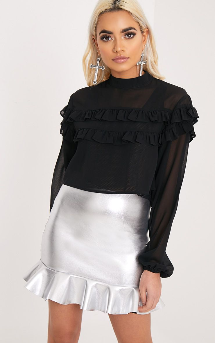 Polliana Black Ruffle Cropped Longsleeve Blouse