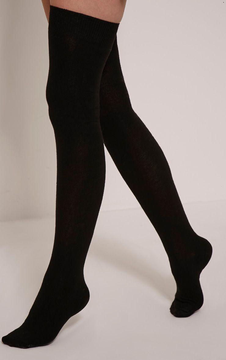 Reah Black Over The Knee Sock 1