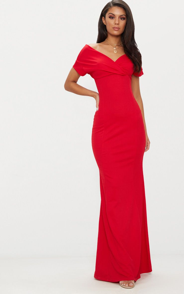 PRETTYLITTLETHING Off The Shoulder Plunge Maxi Dress Clearance Classic Discount Shop High Quality For Sale Cheap 100% Original KM3xGkSS8