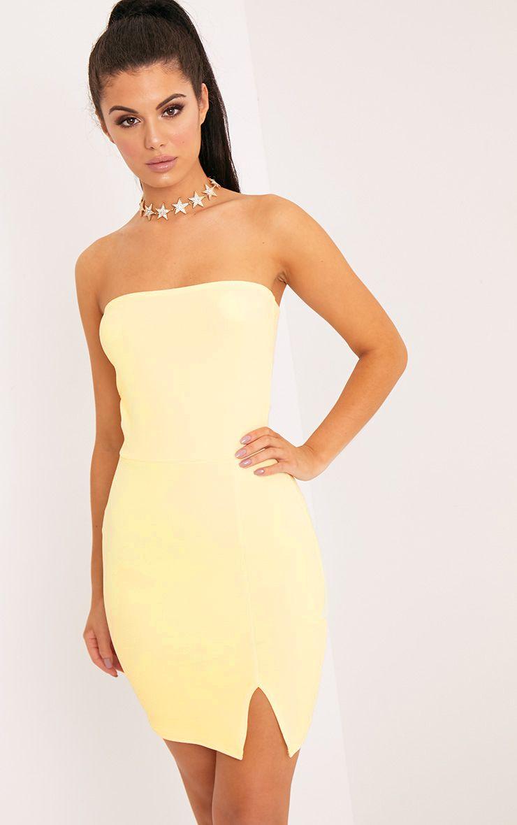 Layala Lemon Split Detail Bandeau Bodycon Dress