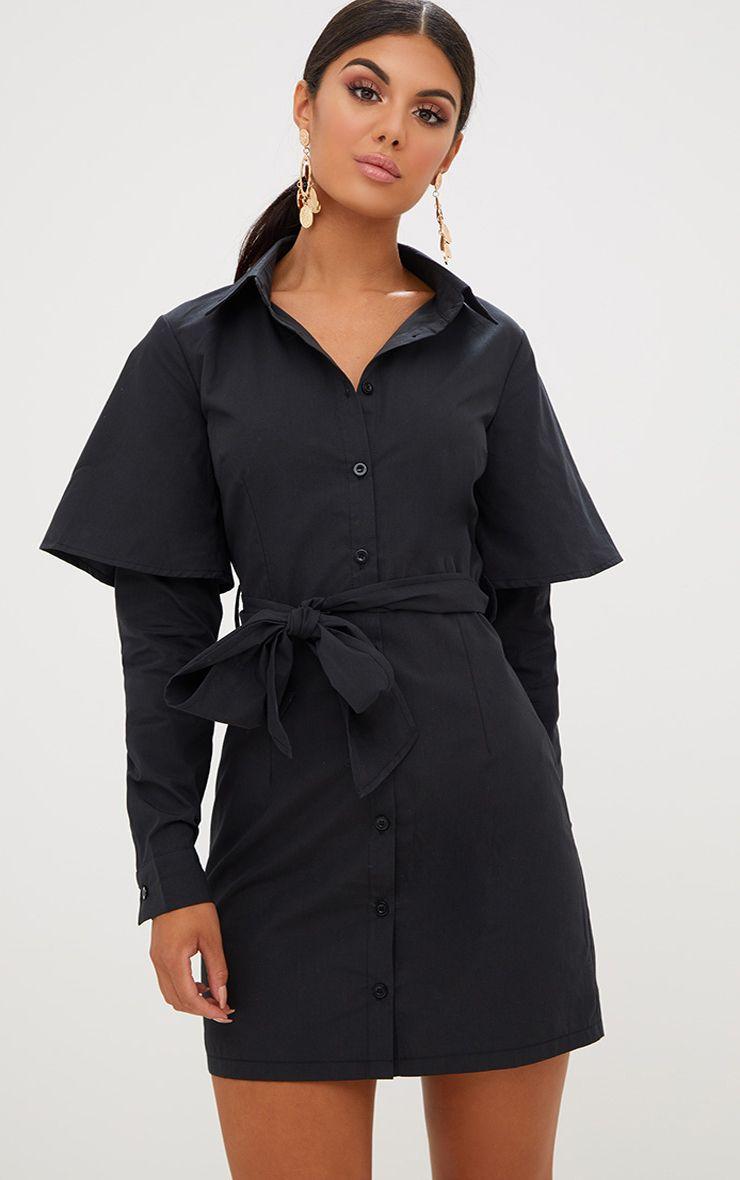 Black Double Cuff Tie Waist Shirt Dress