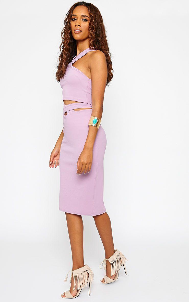 Shanel Mauve Cut Out Midi Skirt 1