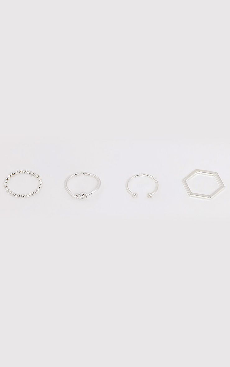 Four Pack Silver Multi Rings
