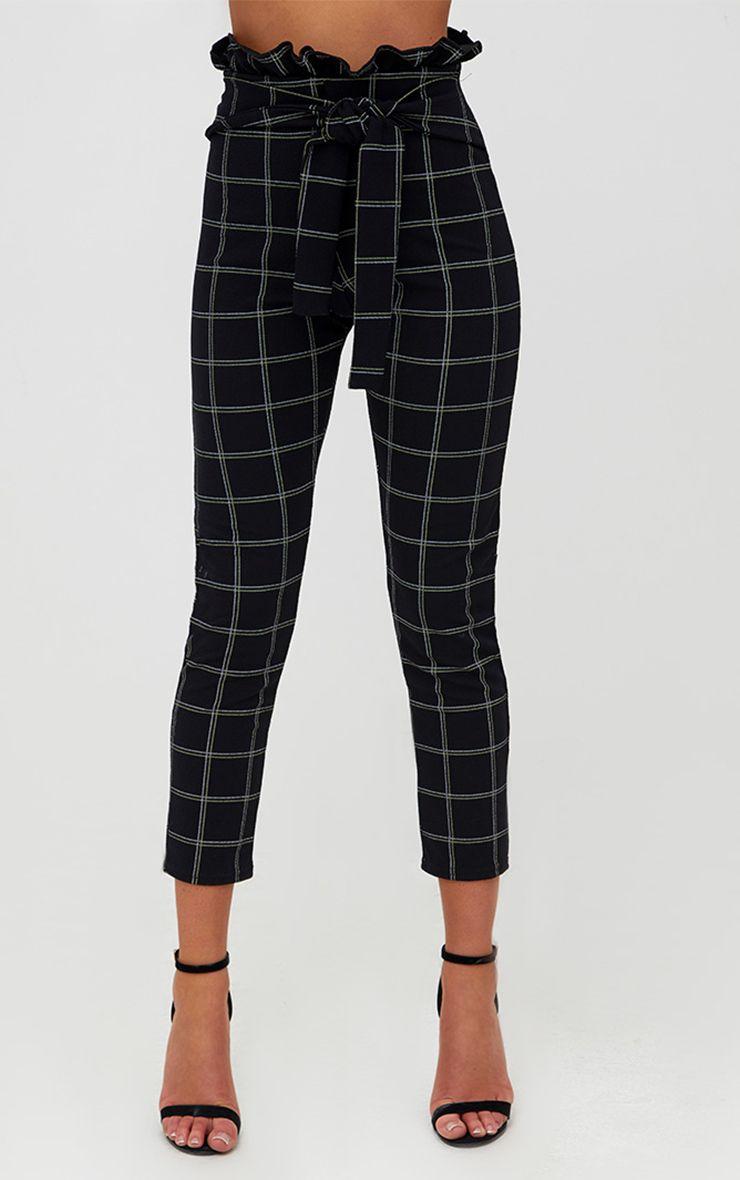 Pantalon skinny noir en tweed carreaux pantalons for Pantalon a carreaux