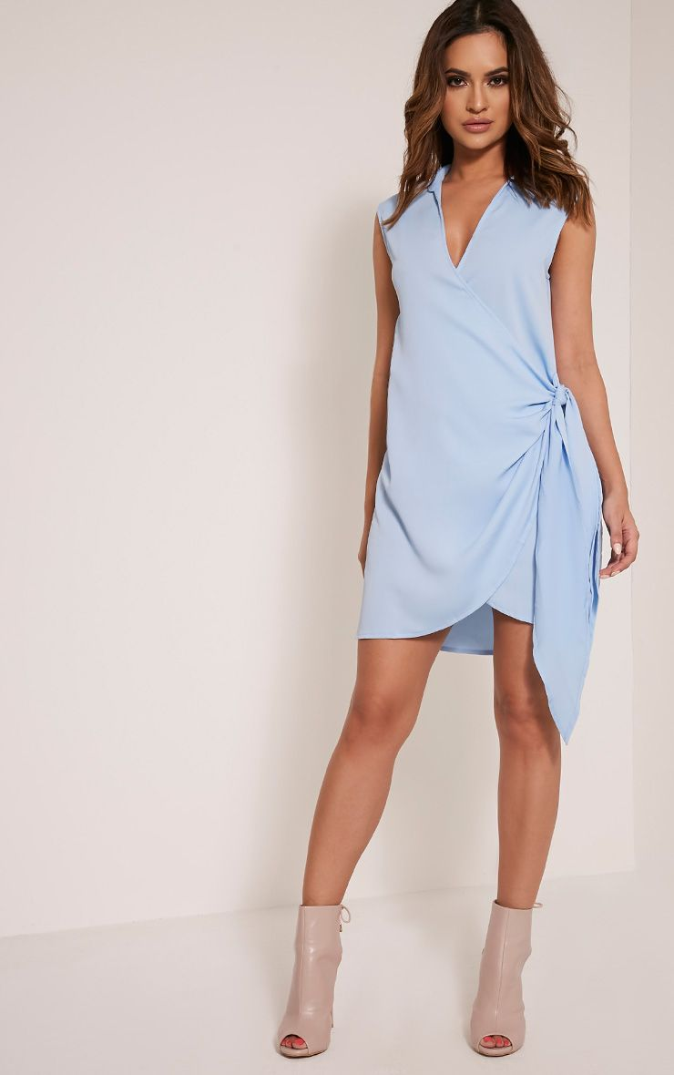 Shaylene Dusty Blue Sleeveless Tie Side Satin Shirt Dress