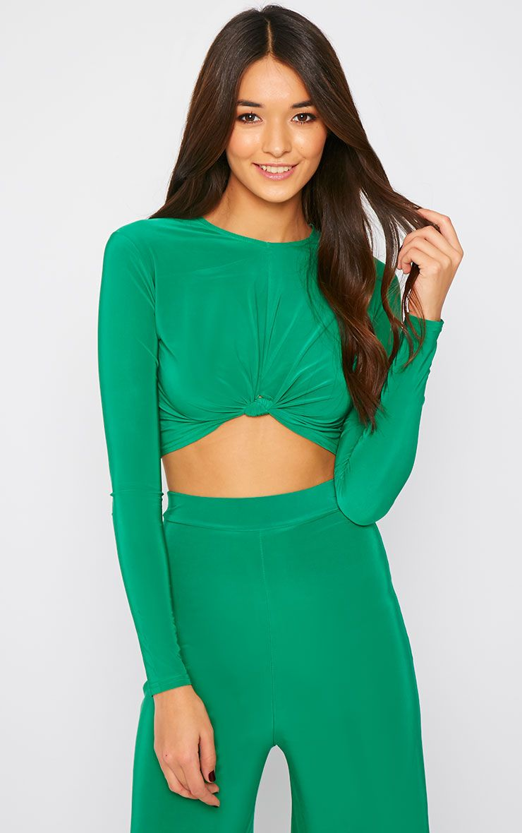 Zafia Green Knot Front Crop Top   1
