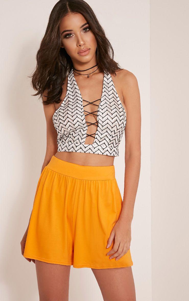 Lucilla Bright Orange Jersey Floaty Shorts 1