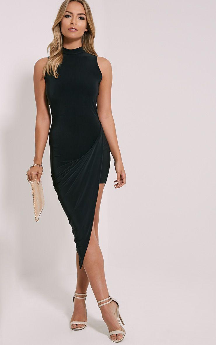 Prim Black Slinky Drape Asymmetric Dress