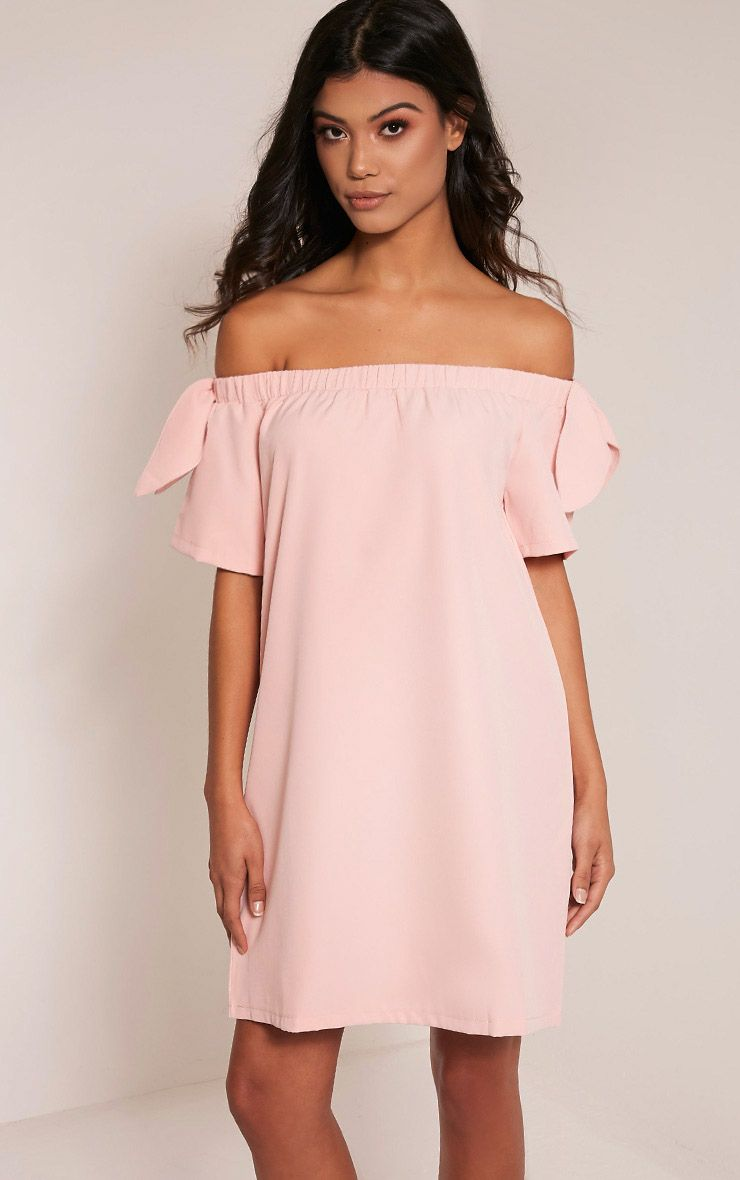 Cayla Blush Crepe Bardot Swing Dress