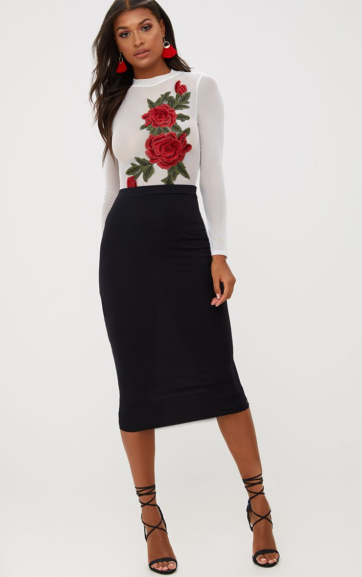 Black Ultimate Jersey Longline Midi Skirt