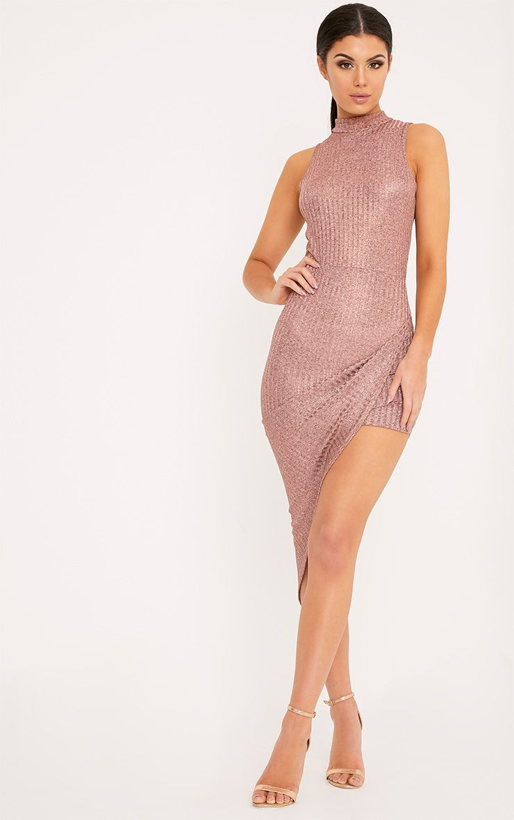 Prim Rose Gold Lurex Asymmetric Drape Dress 1