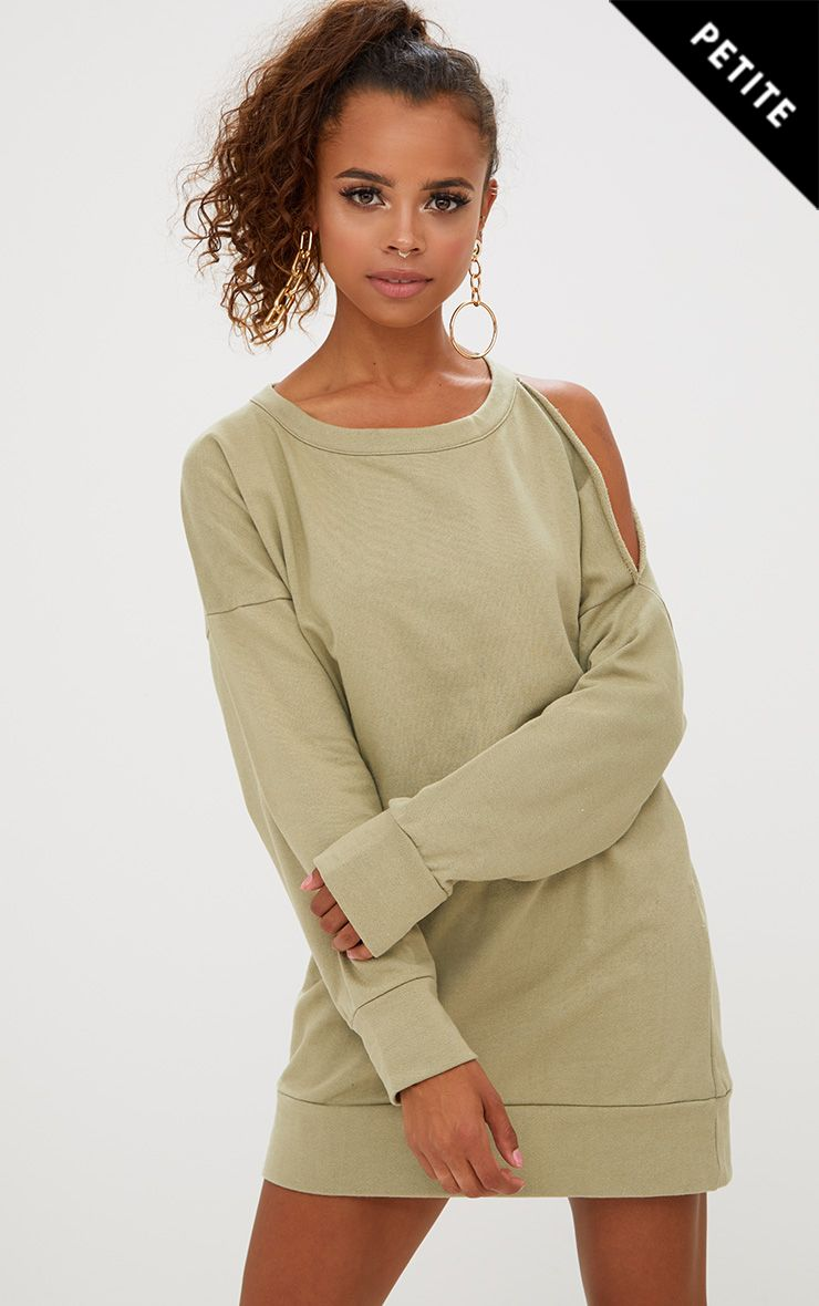 Petite Sage Green Cut Out Shoulder Oversized Sweater Dress