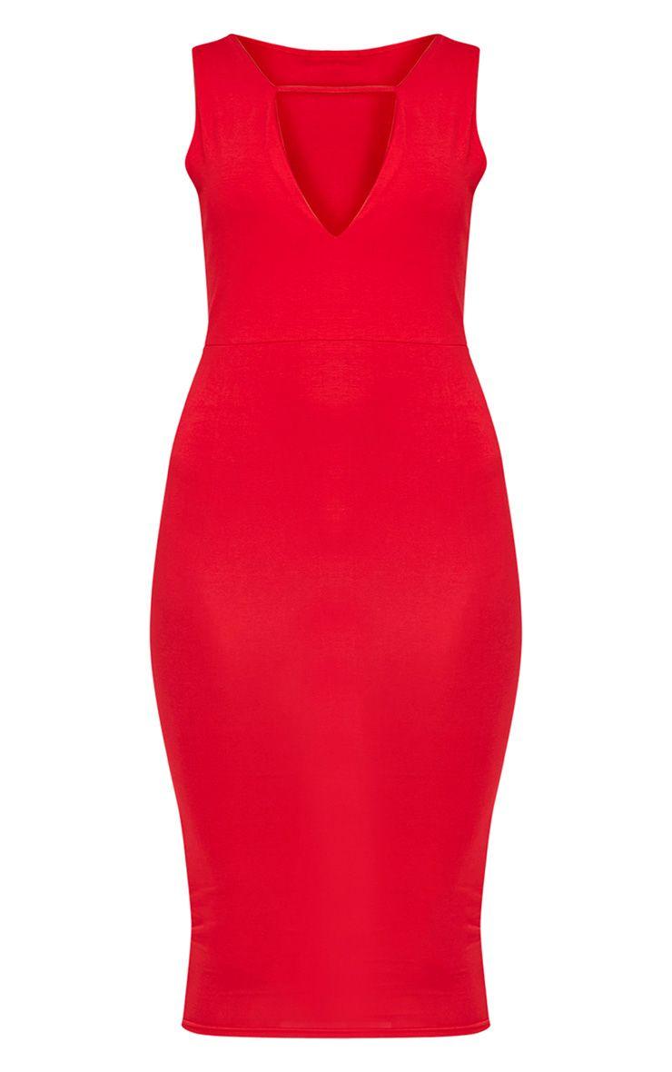 Basic robe midi plongeante à détail avec lanières rouge 3