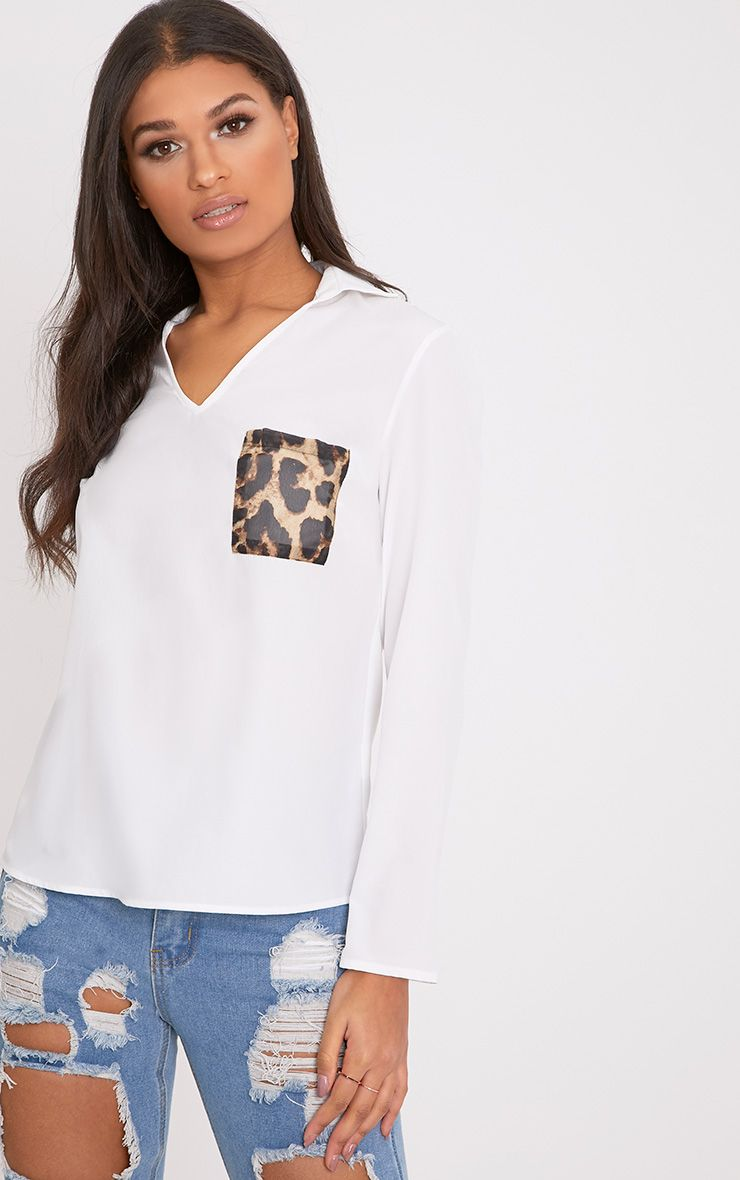 Florence White Leopard Print Pocket Blouse