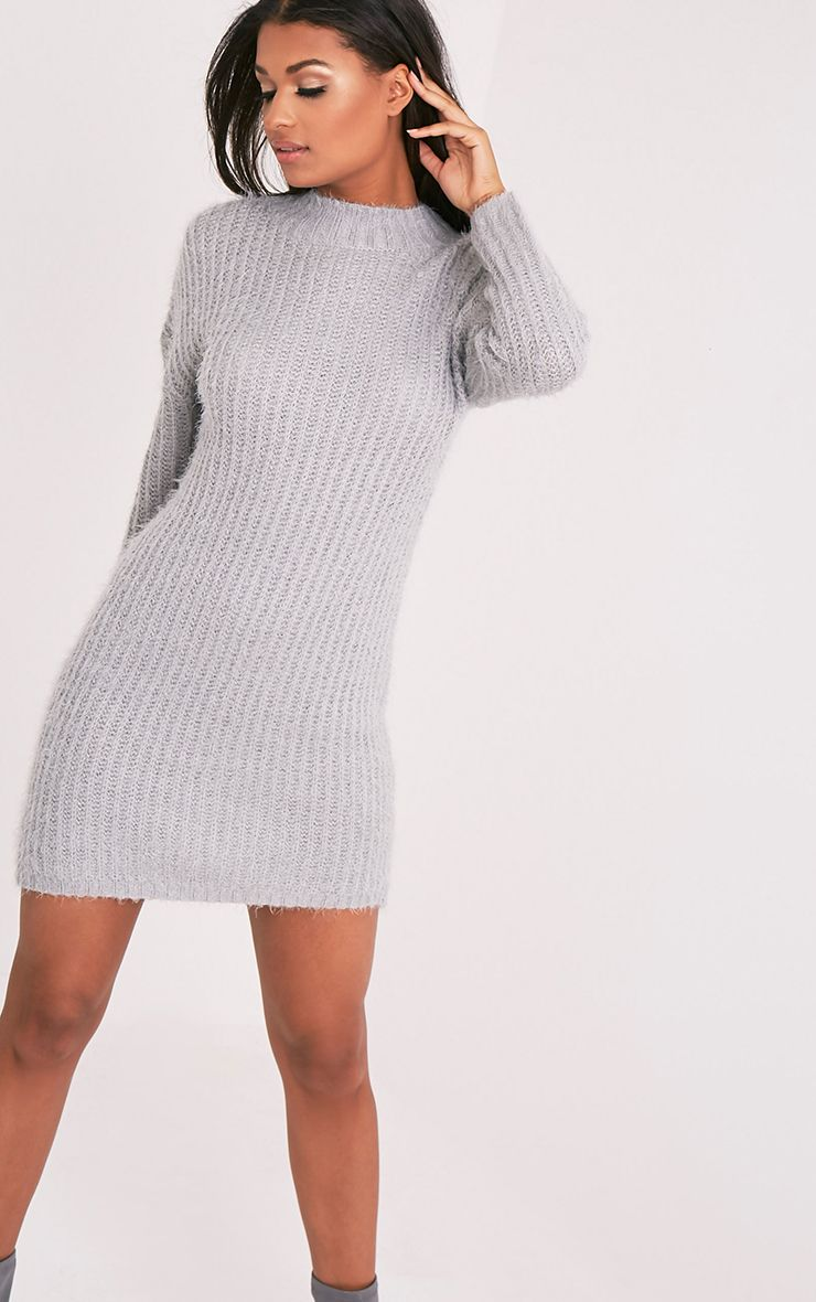 Gordania Grey Knitted Oversized Mohair Dress 1